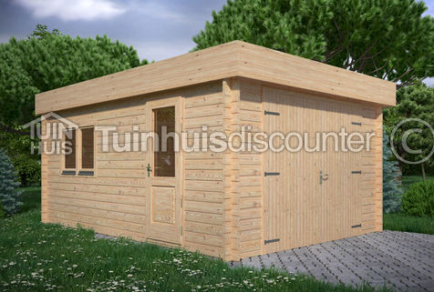 Houten garage Noord-Holland 3,8x5,35m 44mm